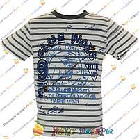 Полосатые футболки с корабликом для мальчика от 5 до 8 лет (4026-1), фото 1