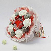 Букет из игрушек Мишки Тэдди 5 с сердечками в красно-белом