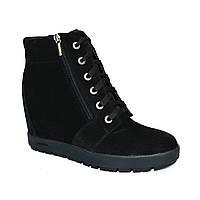 Женские демисезонные замшевые полуботинки на шнуровке, фото 1