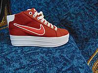 Женские повседневные кроссовки сникерсы NIKE Air красные с белым
