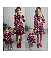 Женское нарядное Платье  DG короткое красное и синие