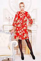 Женское кашемировое пальто-трапеция с ярким цветочным принтом, фото 1