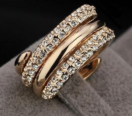 Кольцо DOUBLE GOLD ювелирная бижутерия золото 18К декор кристаллы Swarovski