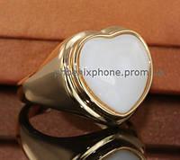 Стильное кольцо с натуральным камнем, покрытое золотом (130620)