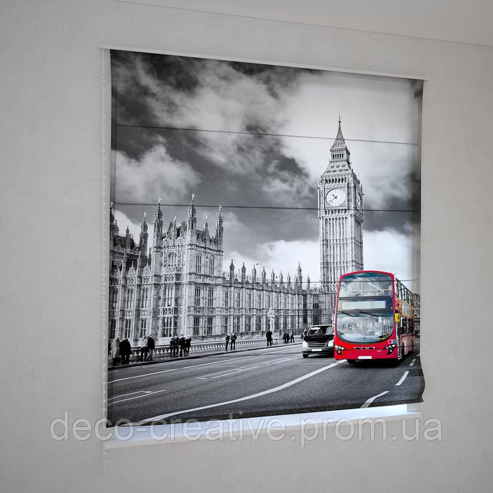 Римские шторы  черно белый Лондон