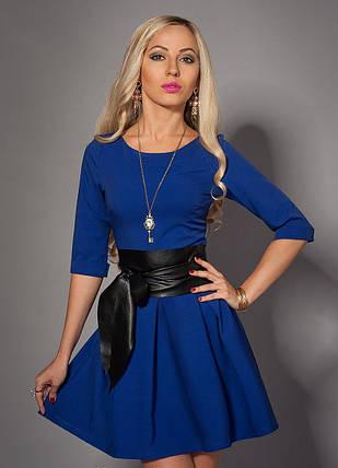 Молодёжное женское платье с поясом электрик, фото 2