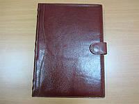 Ежедневник А4 натуральная кожа Коричневый с хлястиком для ручки