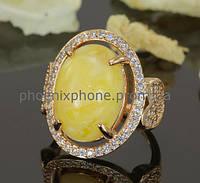 Великолепное кольцо с натуральным камнем и фианитами, покрытое золото (131681)