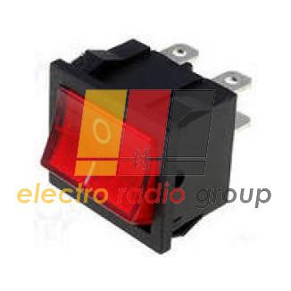 Переключатель широкий с подсветкой KCD-4, ON-OFF, 6pin, 15A, красный