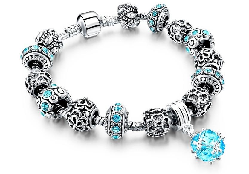 🔝 Браслет в стиле Пандора, (Pandora), Морская волна, с камнями | 🎁%🚚