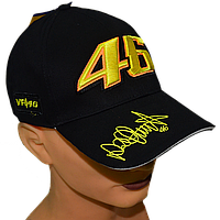 Бейсболка с прикольной вышивкой VR|46 Чёрная