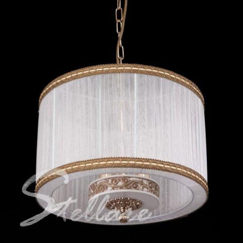 Люстра-подвес с абажуром 3-х ламповая, классическая, для спальни 1969/3 золото