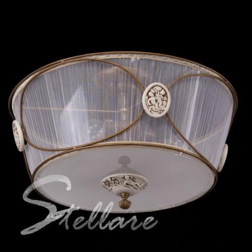 Люстра потолочная нежная 3-х ламповая, классическая, для спальни 1970/3 золото
