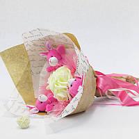 Букет из игрушек Зайки 3 с розами Крафт