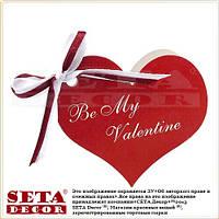 "Открытка мини Валентинка ""Be My Valentine"" двойная с бантиком сердце красное 7,3х7 см"