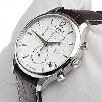 Мужские часы TISSOT Classik (White) кварцевые черный ремешок циферблат белый корпус металл