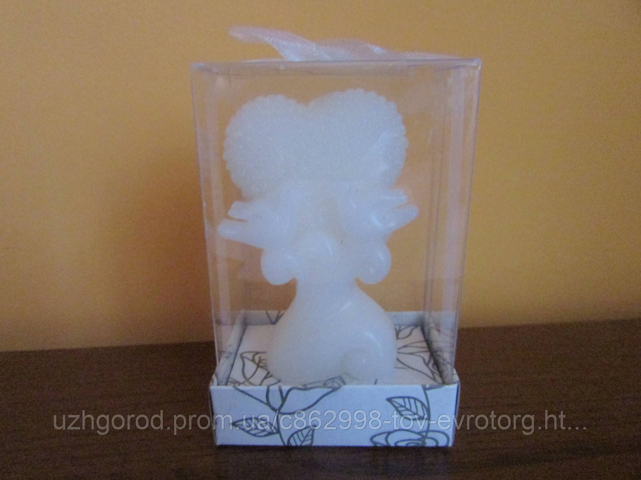 Свеча свадебная Сердце с голубями, 10 см с коробочкой