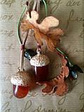 """Брелок """"Дубовая роща"""" с агатовыми желудями. (зелёно-коричневый), фото 2"""
