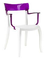 Кресло Hera-K белое сиденье  верх прозрачно-пурпурный