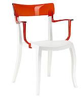 Кресло Hera-K белое сиденье верх прозрачно-красный