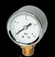 """RS-K 1/4"""" ф.42 Манометр радиальный 0-10 bar хром"""