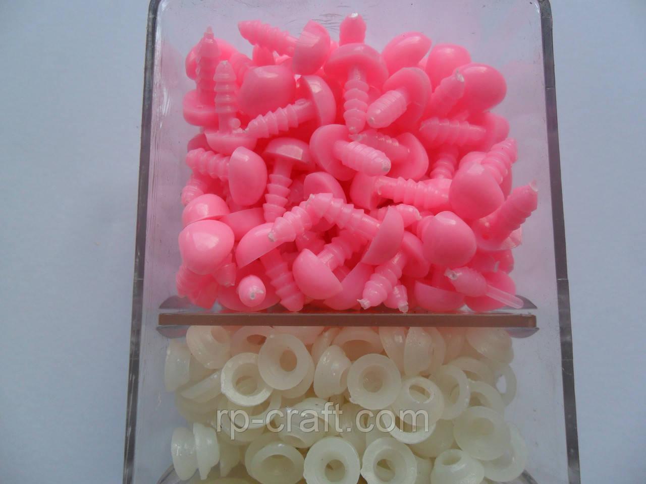 Носик рожевий для іграшок, 6х9 мм