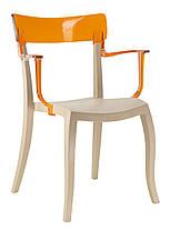 Кресло Hera-K сиденье Песочно-бежевое верх Прозрачно-синий (Papatya-TM), фото 3