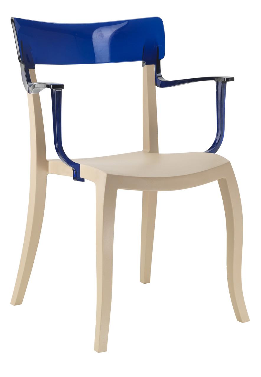 Кресло Hera-K сиденье Песочно-бежевое верх Прозрачно-синий (Papatya-TM)