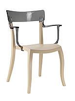 Кресло Hera-K сиденье Песочно-бежевое верх Прозрачно-чистый (Papatya-TM), фото 2