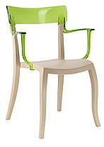 Кресло Hera-K сиденье Песочно-бежевое верх Прозрачно-чистый (Papatya-TM), фото 3