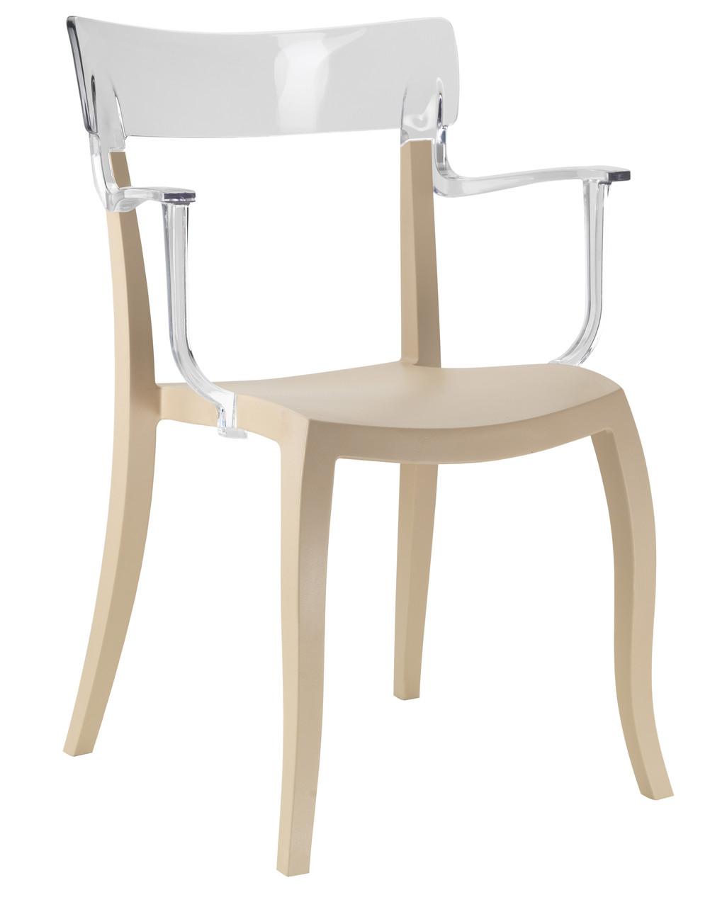 Кресло Hera-K сиденье Песочно-бежевое верх Прозрачно-чистый (Papatya-TM)
