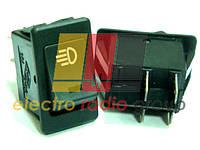 17D, Выключатель автомобильный, на фары, Black с красным глазком, ΟΝ-OFF, 12V, A