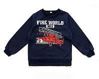 """Теплая кофта """"Пожарная машина"""" для мальчика. 120, 130 см"""