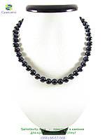 Изысканное жемчужное ожерелье темное 10мм