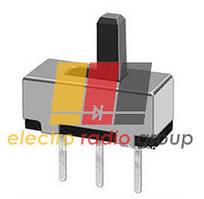 12D01, Выключатель ползунковый мини, 3 Pin  штыревых прямых, Ρычаг 4мм