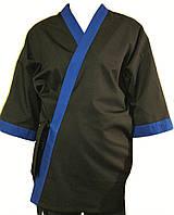 Кимоно поварское для суши повара черное с синей отделкой Atteks - 00914