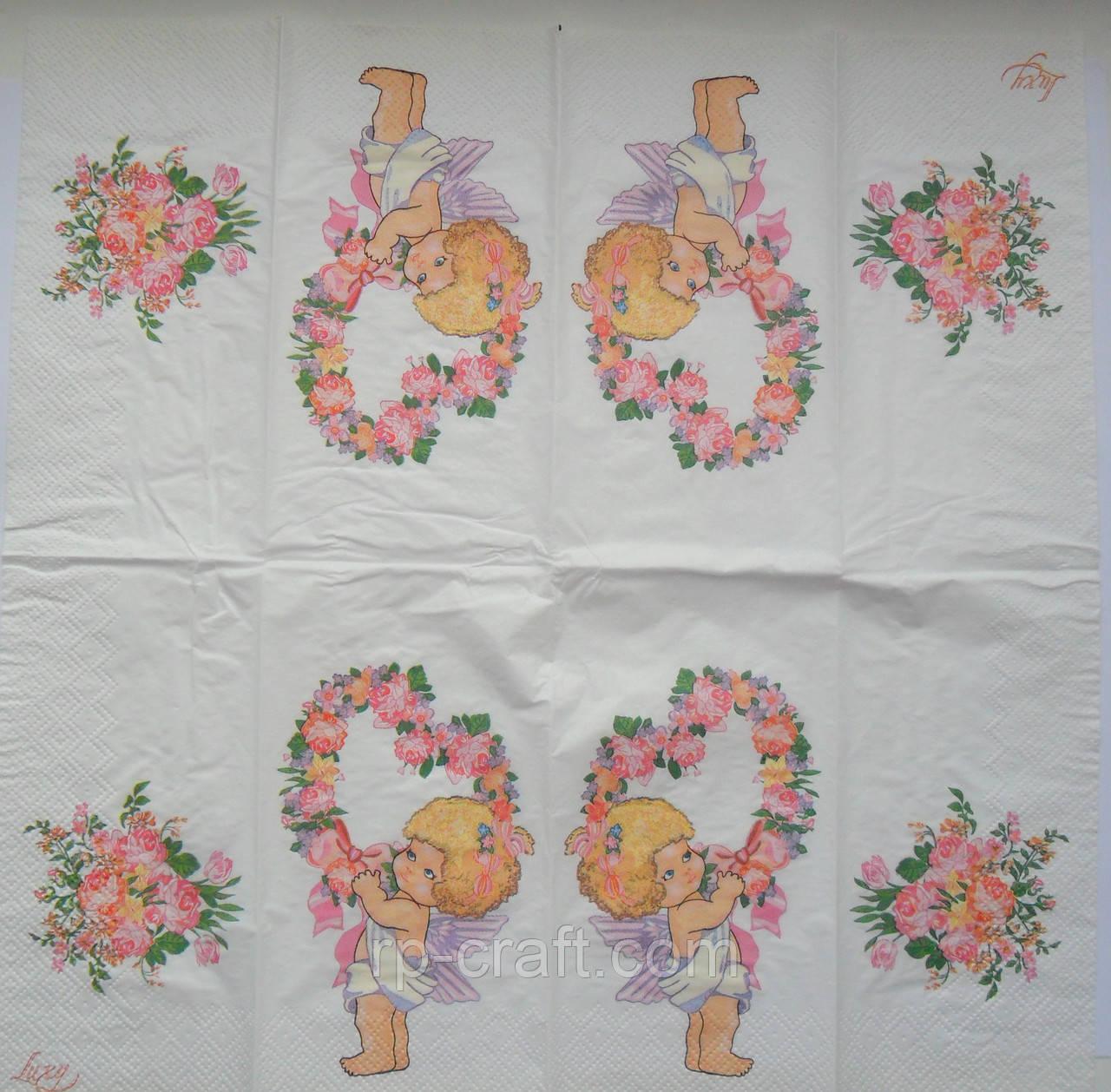 Серветка для декупажу з ангелом і квітами, 33х33 см