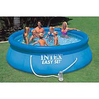 Надувной бассейн с надувным верхним кольцом + фильтр-насос 396х84см Intex 28142