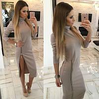 Модное стильное платье с разрезом на молнии в разных цветах. Артикул SM21