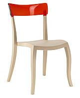 Стул Hera-S сиденье песчано-бежевое верх прозрачно-красный