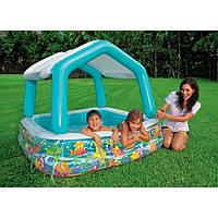 Детский надувной бассейн со съемным тентом 157x157x38 (122)см