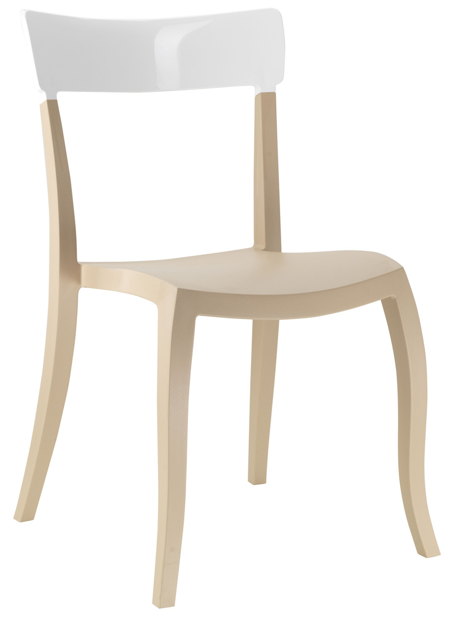 Стул Hera-S сиденье Песочно-бежевое верх Белый (Papatya-TM)