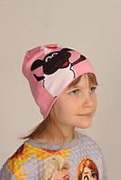 Демисезонная однотонная шапка на детей с барашком Шоном, розовый