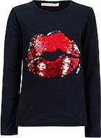 Модная  Детская Футболка С Длинным Рукавом.Модная Кофта Черная С Красным Рисунком Из Пайеток Desigual, Испания