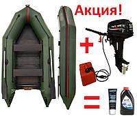 Килевая моторная лодка Вулкан VMK310(PS) + Двухтактный лодочный мотор Parsun T9,8