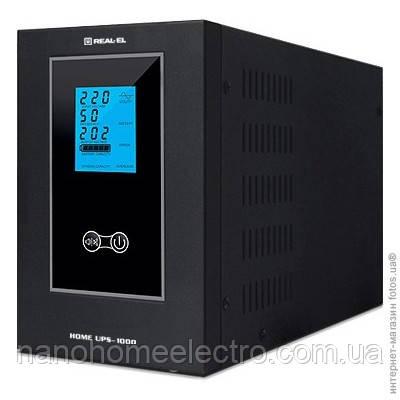 Иcточник бесперебойного питания REAL-EL HOME-500 Синусоидальный, АКБ в комплект не входят, ЖК экран, 1 роз