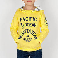 Хлопковая испанская  футболка с длинным рукавом капюшон внутри белый в синюю полоску, для мальчика.