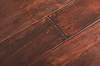 Однополосная паркетная доска Гевея состаренная DARK под лаком