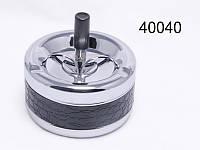Пепельница 49014 (40040) металл/хром/глянец/крокоимитация, д=11 см,