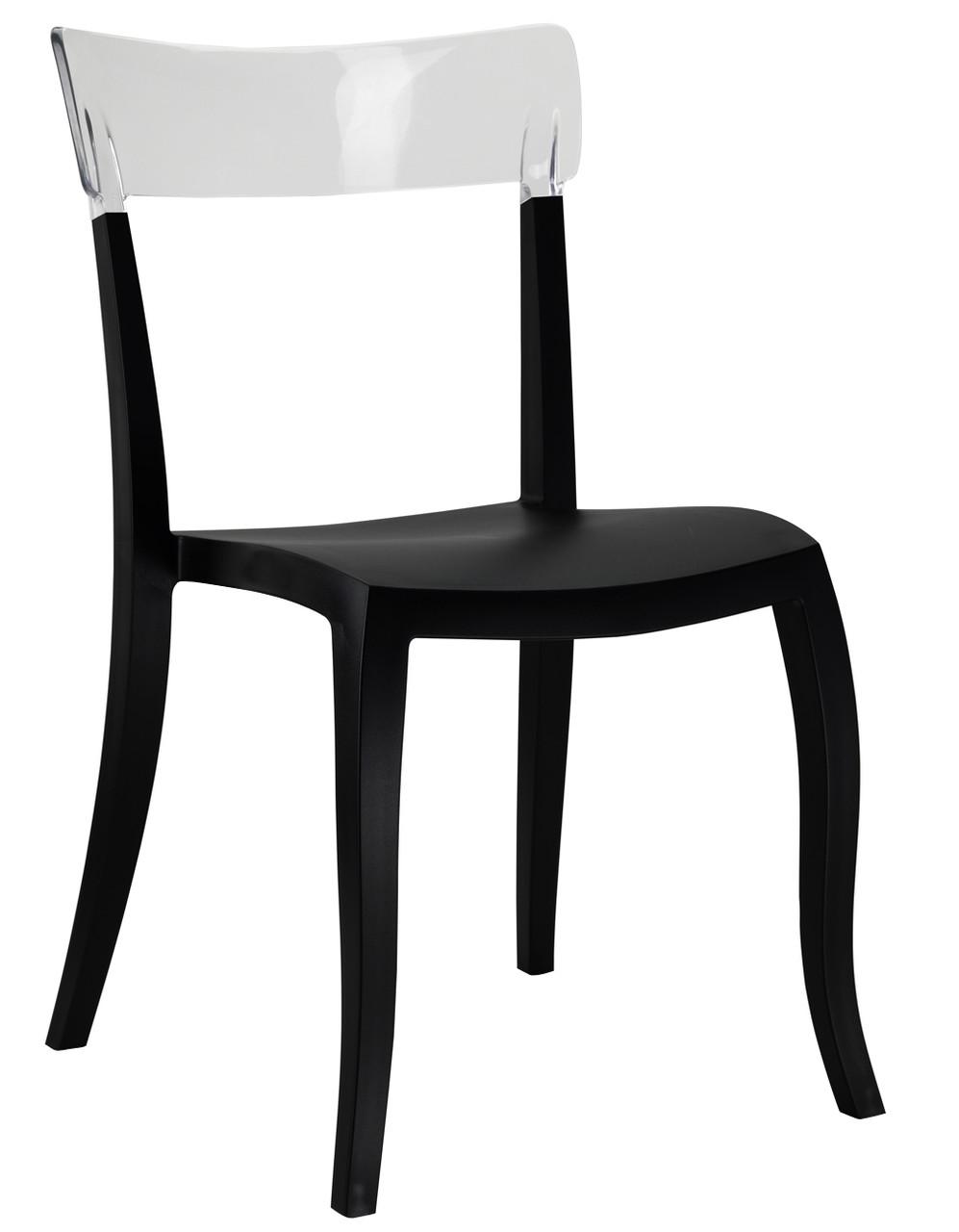 Стул Hera-S сиденье Черное верх Прозрачно-чистый (Papatya-TM)